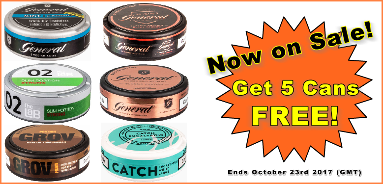 Get 5 Cans of Snus FREE at the SnusCentral.com Snus Shop!