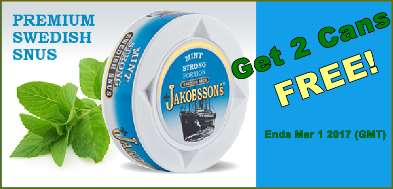 Jakobssons Strong Mint Snus - Get 2 Cans FREE this month!