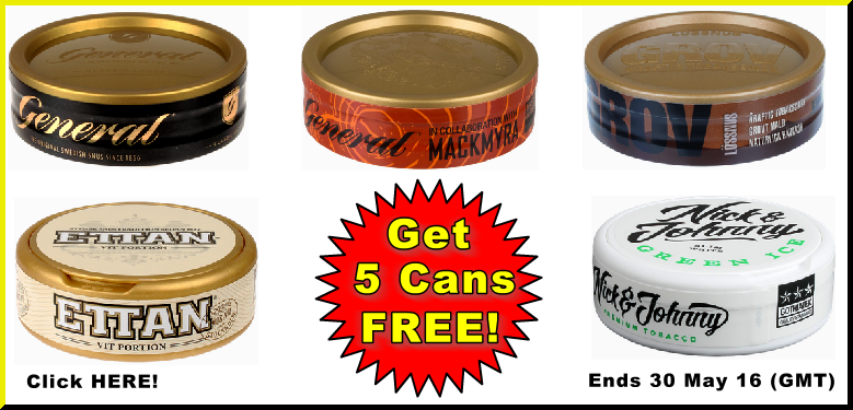 5 Cans FREE Snus this Week Only!