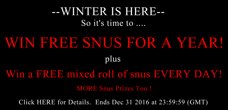 Win Free Snus Every Day PLUS Free Snus for a YEAR!