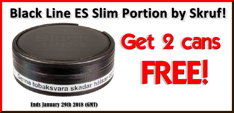 Get 2 Cans of FREE Black Line by Skruf Extra Strong Slim White Portion Snus this Week ONLY!