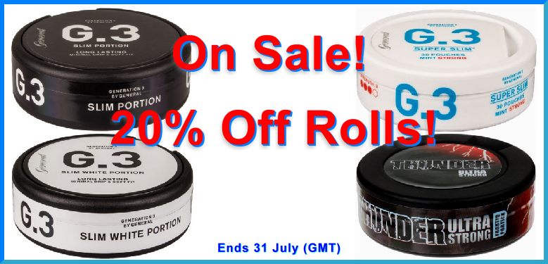 Get 20% Off these snuses all July long!