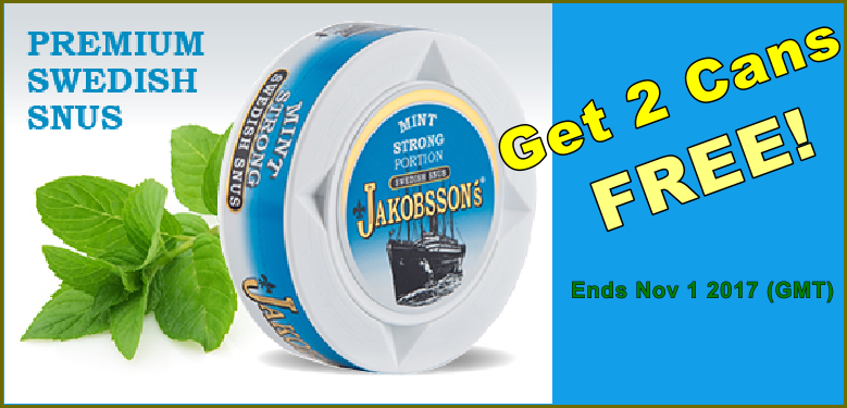 Jakobssons Strong Mint Portion Snus - Get 2 Cans FREE this month!
