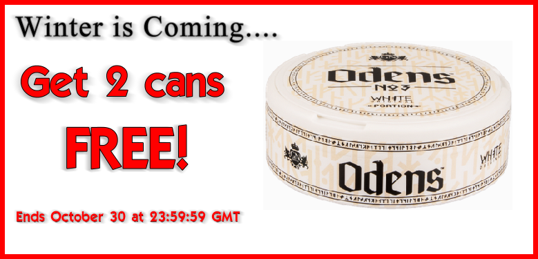 2 cans FREE Odens No.3 White Portion Snus this Week!