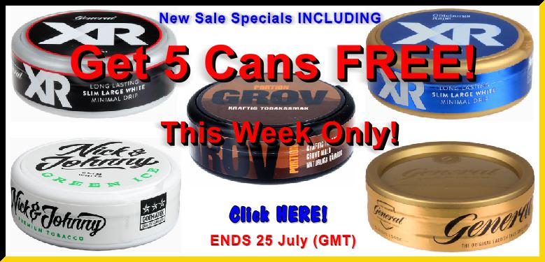 Get 5 cans FREE Snus plus more!