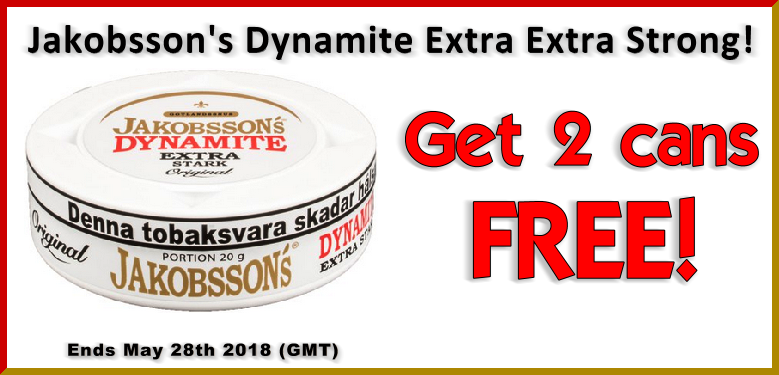 Get 2 FREE CANS of Jakobsson's Dynamite Extra Strong Portion Snus This Week Only!