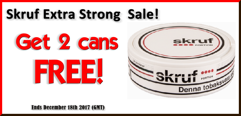 Get 2 Cans of FREE Skruf Extra Strong Portion Snus this Week ONLY!