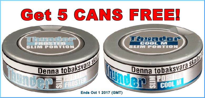Get 5 Cans of these two Thunder Snuses FREE!