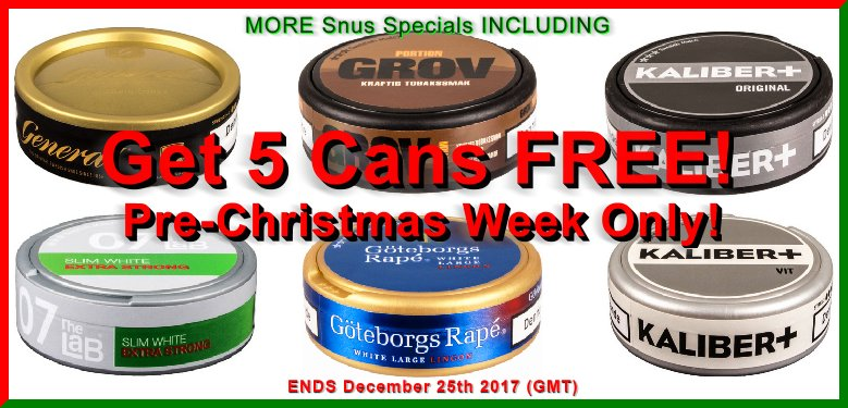 Get 5 Cans of Snus FREE and Enter to Win FREE Snus for a YEAR!