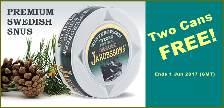 Jakobsson's Strong Wintergreen Portion Snus On Sale TWO CANS FREE!