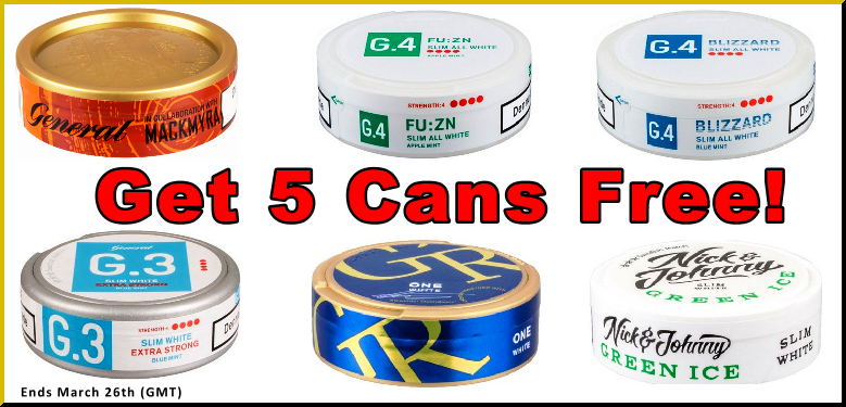 Get 5 Cans FREE Snus This Week at the famous SnusCentral.com Snus Shop!