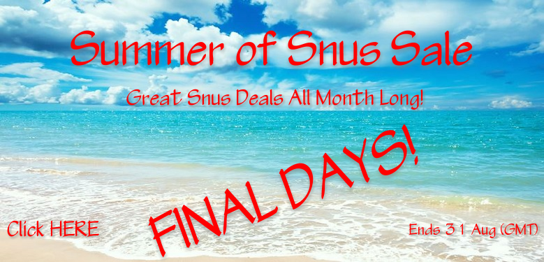 August heat can be a beach so we're throwing a Snus Sale!