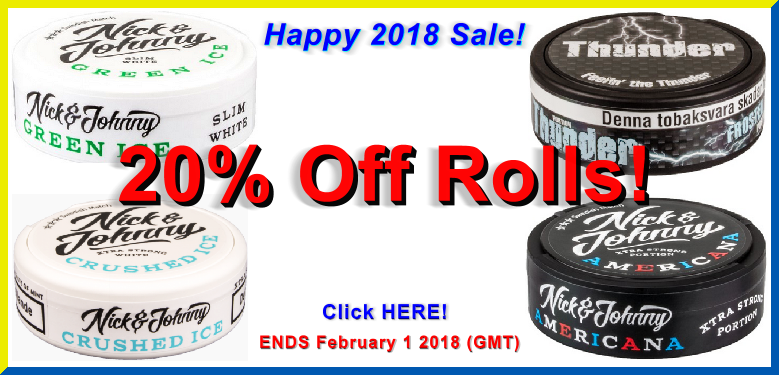 Get 20% Off Rolls of these Snuses at SnusCentral.com in January!