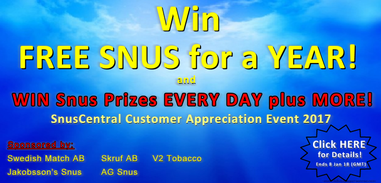 Win FREE SNUS for a YEAR! More Prizes EVERY DAY!