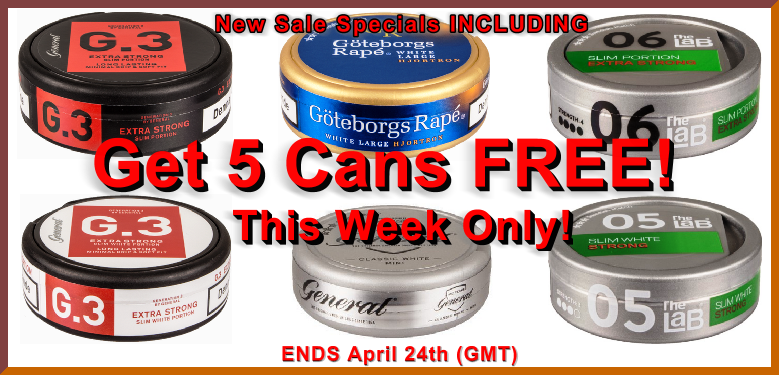Get 5 Cans of Snus FREE!