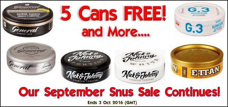 Five cans FREE SNUS Sale this week