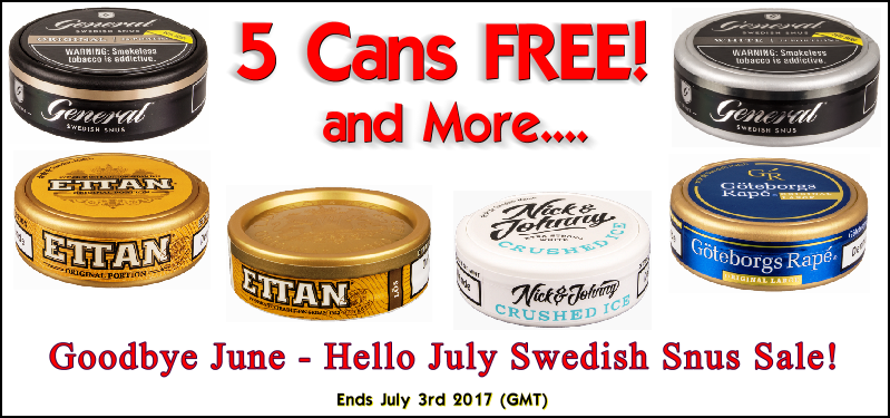 Free Snus always tastes the best! Get 5 Cans FREE of these Snus this week ONLY!