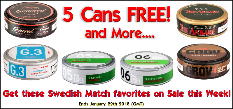 Get 5 Cans FREE of these Swedish Match Snus favorites!