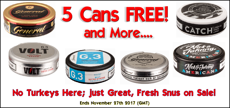 Five cans FREE SNUS Thanksgiving Day Sale ALL Week at SnusCentral.com!