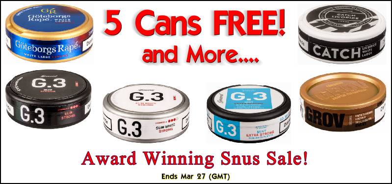 Free Snus always tastes the best! Get 5 Cans FREE of these Snuses this week ONLY!