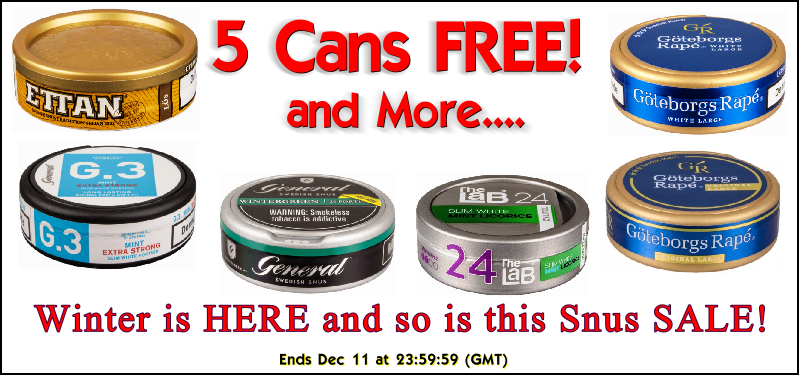 Get 5 Cans of snus FREE this Week!