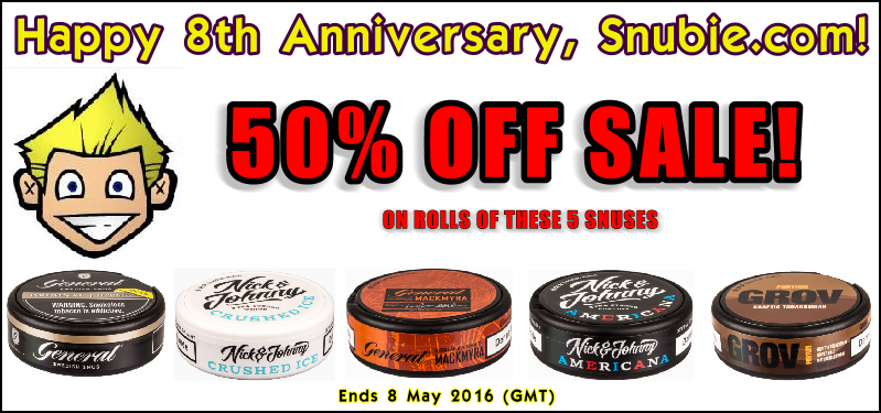 50% OFF Your Favorite Snuses This Week for Snubie.com Anniversary!