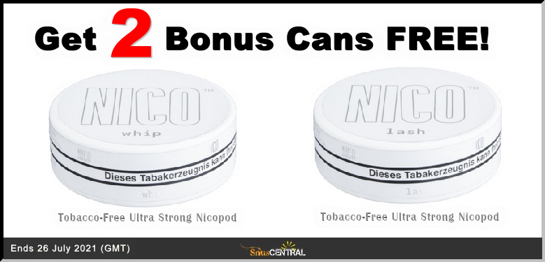 Cool Off with TWO FREE Bonus Cans of NICO Extra Strong or Ultra Strong when you buy rolls from SnusCentral!