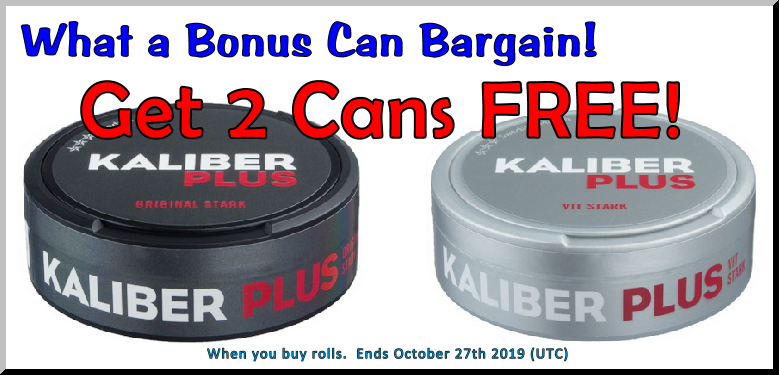 Two high caliber Kaliber Extra Strong Snus Sale at SnusCentral.com!