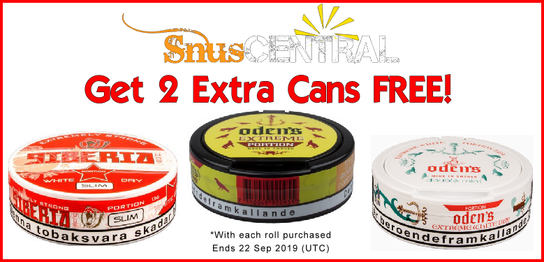 EXTREMELY FREE (and high nicotine) Sale on these Siberia and Oden's Snus favorites!