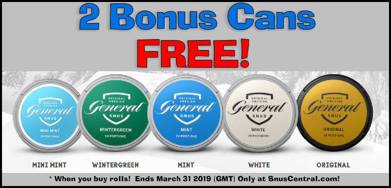 Classic Snus Sale! Get 2 Bonus Cans of each of these classic General Snus products FREE when you buy rolls!