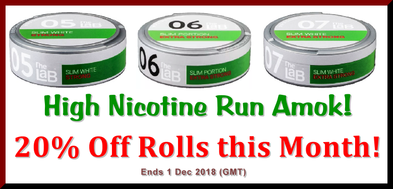 Save BIG with 20% OFF Rolls on these great Strong and Extra Strong snuses from The LaB!