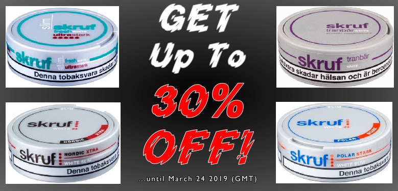 UP to 30% OFF on these Skruf Snus favorites this week!