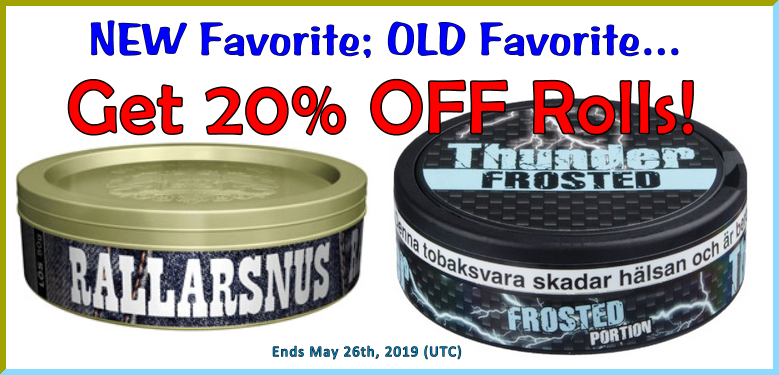 Famous Rallarsnus lös returns from the dead and Thunder Frosted Extra Strong Portion was the first Extra Strong snus ever. Both on Sale this week at SnusCentral.com!