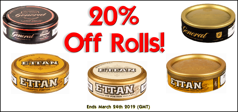 Save 20% on these Swedish Match Snuses this Week! Includes ALL Ettan snus!