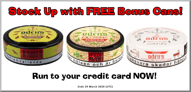 Fill your chiller with these Oden's Snus Specials!