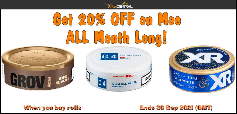 Get a FREE Bonus Can on Moe when you buy rolls of these Swedish Match classics ALL September Long!