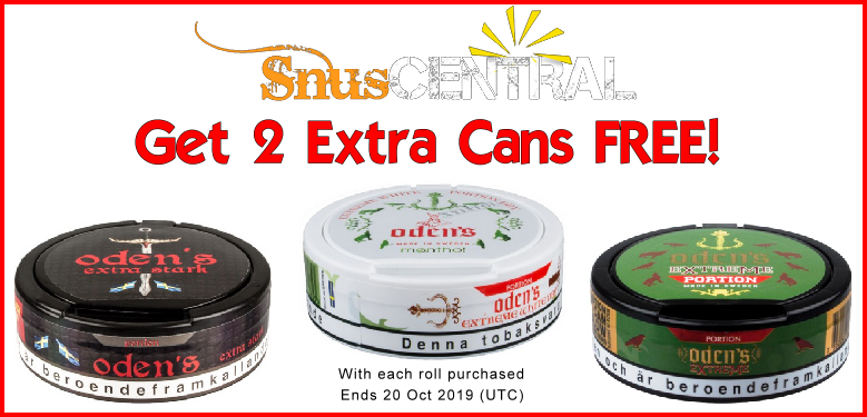Oden's Snus On Sale! Get 2 cans FREE!
