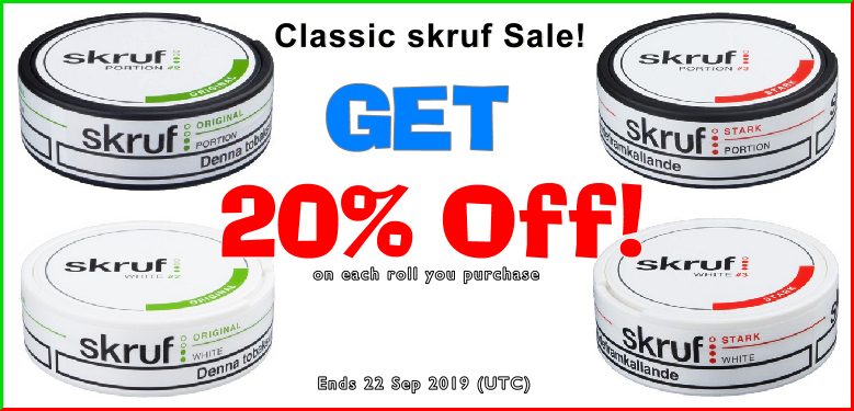 More classic Snus ON SALE at 20% OFF from Skruf!