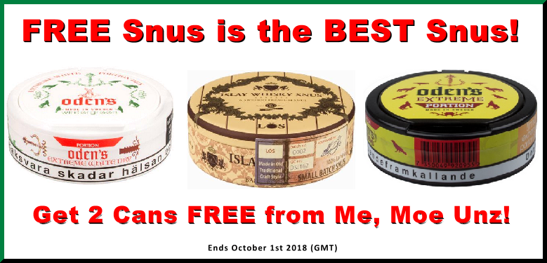 FREE Snus is the Best Snus! GET 2 cans FREE on the GN Tobacco favorites!