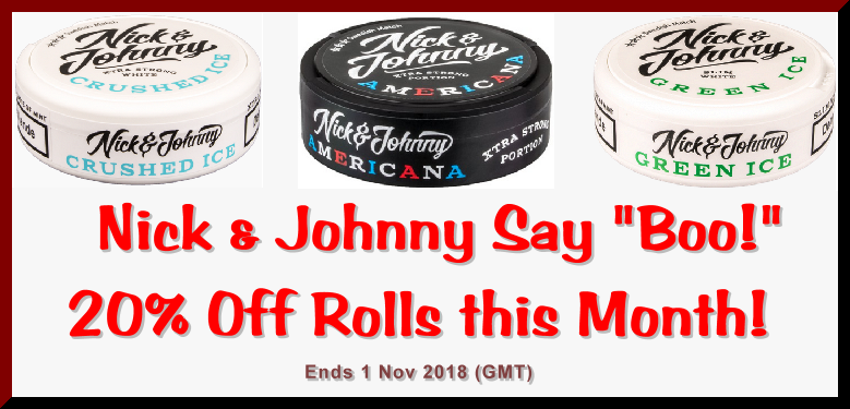 Save BIG with 20% OFF Rolls of these great snuses from Nick & Johnny ONLY at the legendary SnusCentral.com Snus Shop!