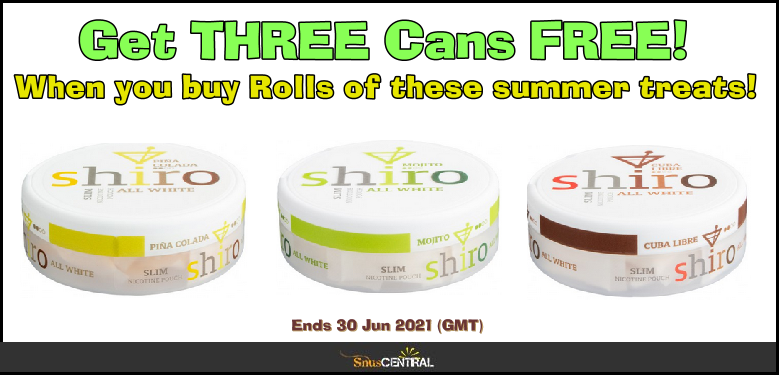 Get 3 CANS FREE of these Shiro Nicotine Pouch Favorites ON SALE NOW!