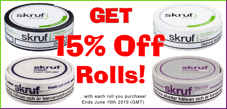 Get 15% OFF rolls of these classic Skruf Snus favorites this week!
