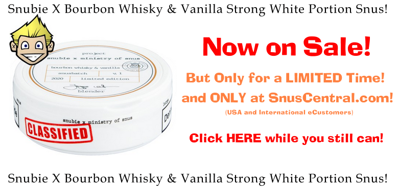 Get Snubie x Ministry of Snus Bourbon Whisky and Vanilla Strong Portion Snus ONLY at SnusCentral.com while supplies last!