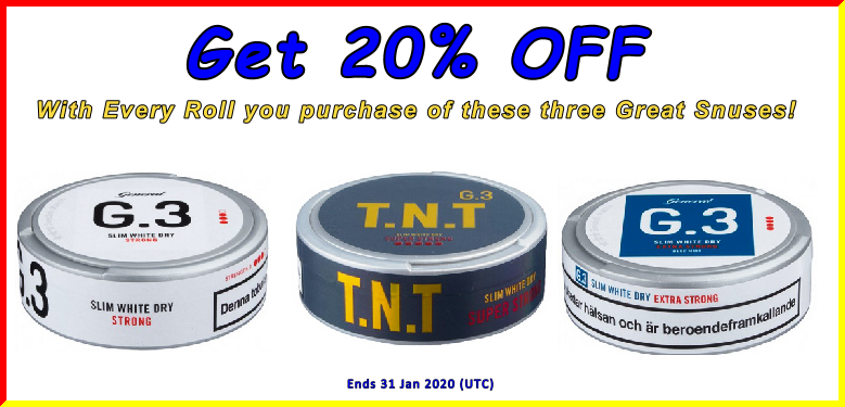 We're starting the New Year Off Right with 20% OFF on these G.3 high nicotine snus treats!