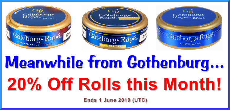 Enjoy 2 Cans FREE of these Goteborgs Rapé Snus Favorites this month!