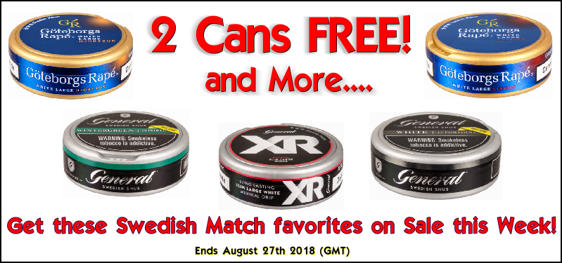 Get 2 Cans FREE of these Swedish Match Snus Favorites This Week at SnusCentral.com!