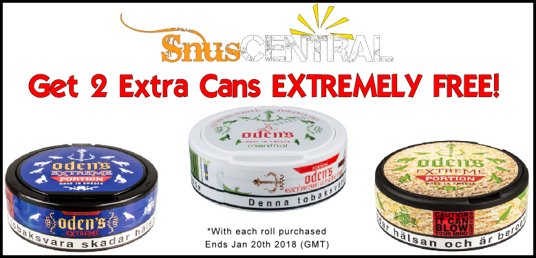 Get FREE Bonus cans of snus on these Oden's snus favorites this week!
