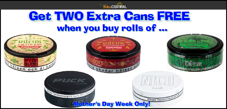 Get TWO Cans FREE when you buy rolls of these EXTREMELY High Nicotine Snus and Nicotine Pouches!