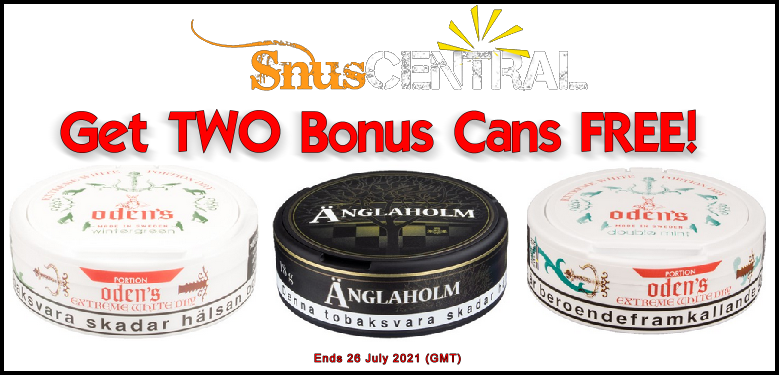 Get TWO CANS FREE of these GN Tobcco snus favorites when you buy rolls at SnusCentral.com!