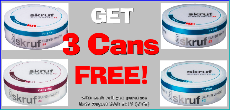 Cool Off with this Skruf All White Snus Sale and get 3 Cans FREE!